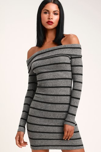 fcbf01afab3 Nella Charcoal Grey Striped Off-the-Shoulder Sweater Dress