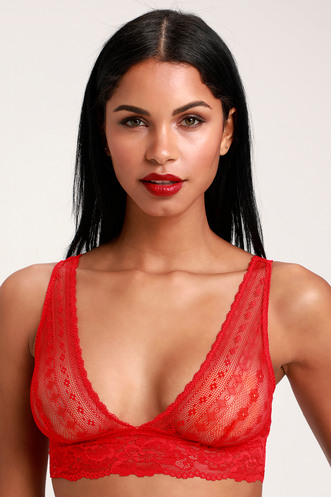 0b29528491 Lina Red Sheer Lace Bralette