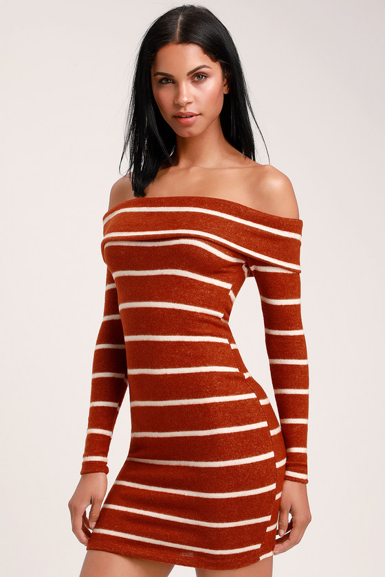 2f19d7bad66 Cute Rust Striped Sweater Dress - Off-the-Shoulder Sweater Dress