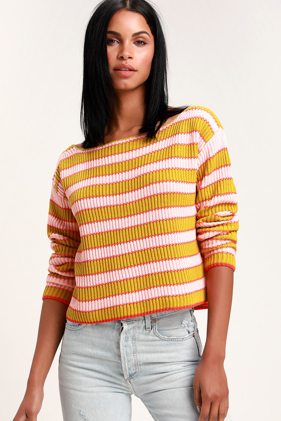 31fce0dc473 Pink and Mustard Yellow Striped Sweater - Cropped Sweater - Top