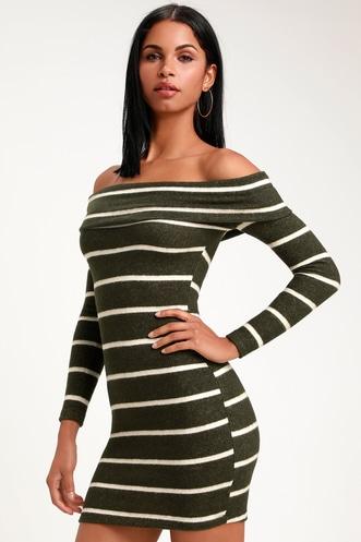 fee1a59e821 Nella Olive Green Striped Off-the-Shoulder Sweater Dress
