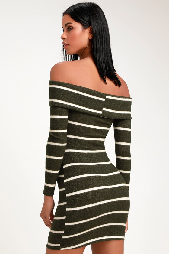 0b9ced12f75 Cute Olive Striped Sweater Dress - Off-the-Shoulder Sweater Dress