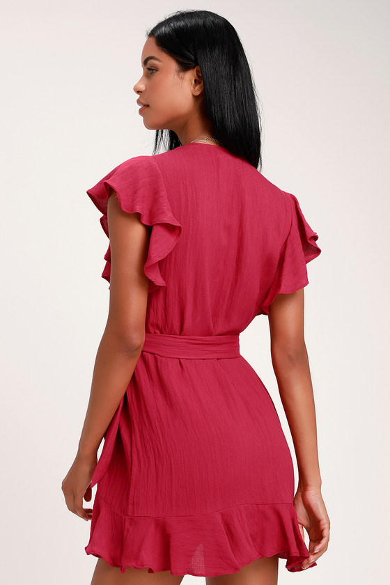 9a68477d740 Cute Magenta Dress - Wrap Dress - Mini Wrap Dress