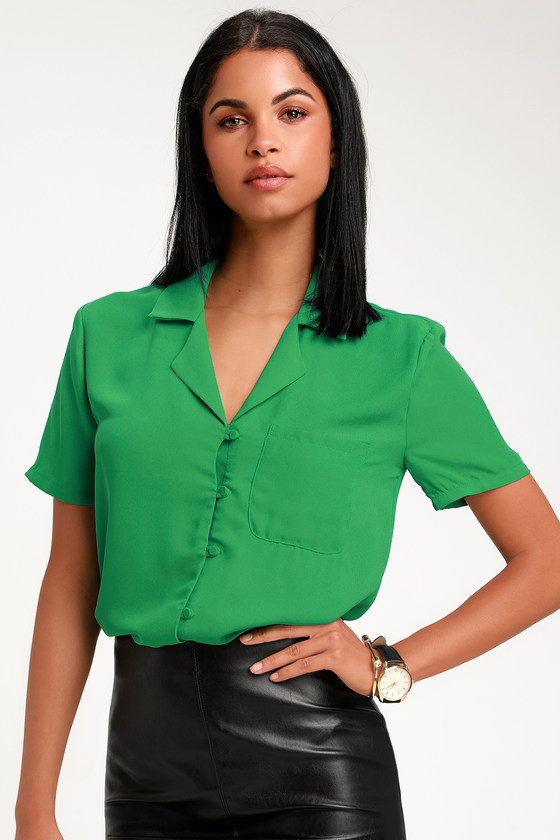 1940s Blouses, Shirts and Tops Fashion History Good Luck Charm Green Short Sleeve Button-Up Top - Lulus $42.00 AT vintagedancer.com