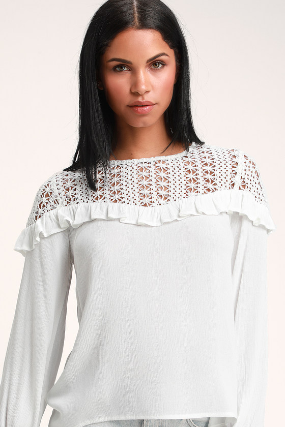 Cute White Top Crocheted Lace Top Long Sleeve Top Top