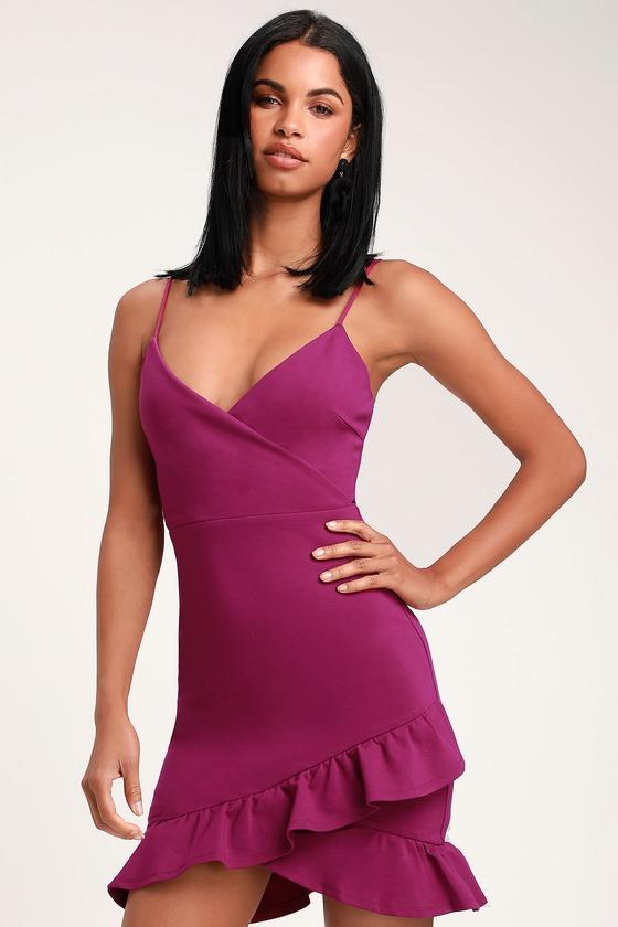 1e40a2dde2 Sexy Magenta Dress - Bodycon Dress - Surplice Dress