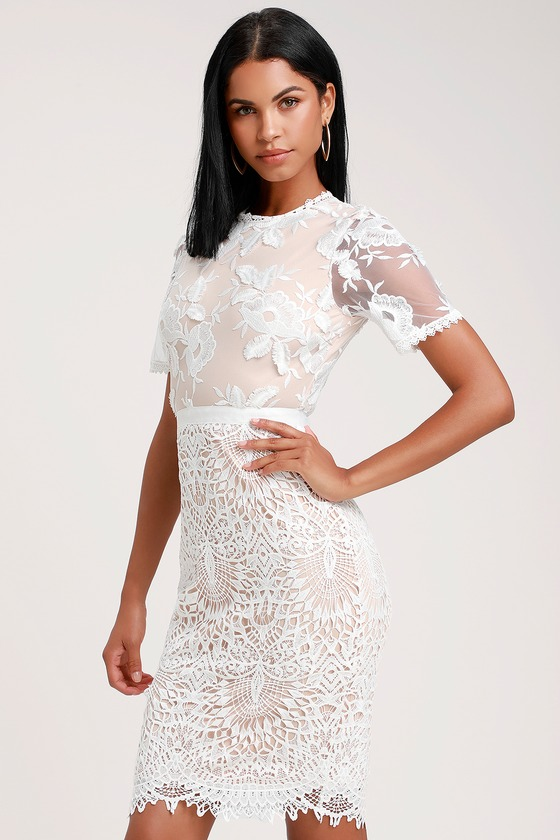 Kayleigh White And Nude Lace Short Sleeve Midi Dress Mod