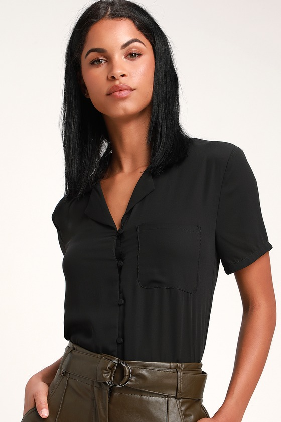 1940s Blouses and Tops Good Luck Charm Black Short Sleeve Button-Up Top - Lulus $42.00 AT vintagedancer.com