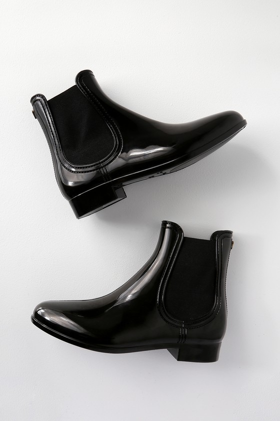 768a0d3b7 Cute Black Boots - Shiny Boots - Rain Boots - Chelsea Boots