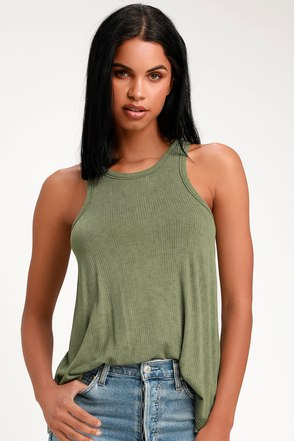f2e3d35b98b13 Cute Tank Top - Basic Tank Top - Washed Olive Green Tank Top