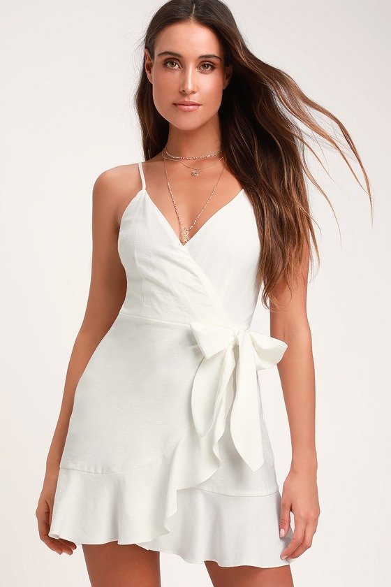 cf57f608da1 The Fifth Label Soulmate - Ivory Wrap Dress - White Wrap Dress