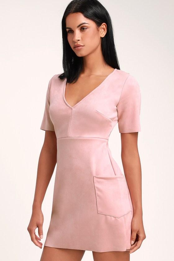 99fff314c5a0 Cute Dusty Rose Dress - Suede Dress - Vegan Suede Dress