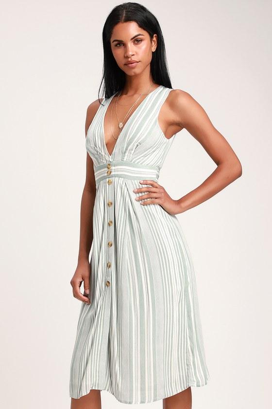 9f51d90afb4b Cute Sage Green Striped Dress - Button-Front Dress - Midi Dress