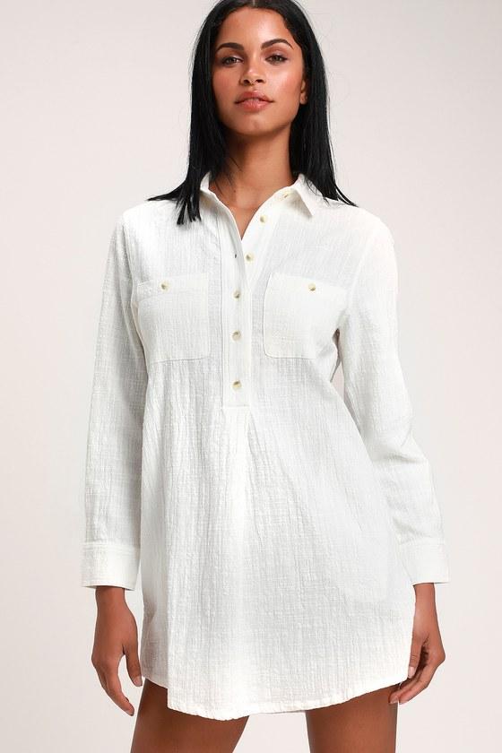 10322cbc Rhythm Malta - White Dress - Shirt Dress - Long Sleeve Dress