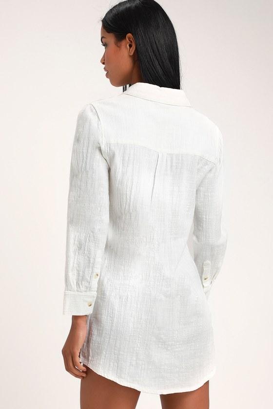 aed199a85f Malta White Long Sleeve Shirt Dress