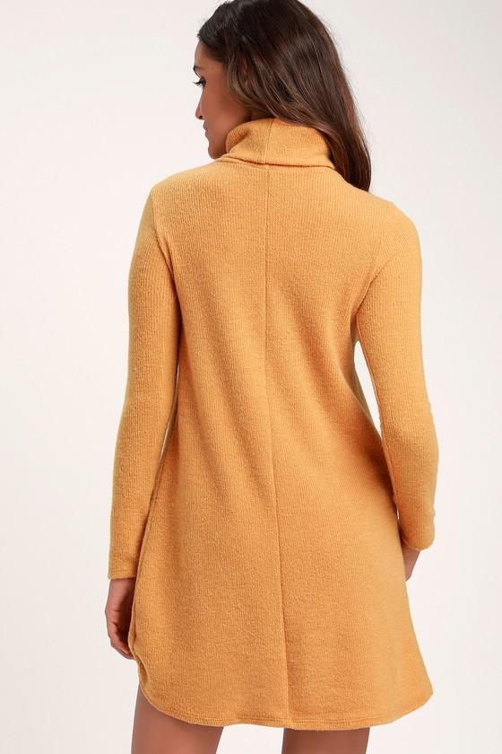 Cute Mustard Yellow Sweater Dress Long Sleeve Turtleneck Dress