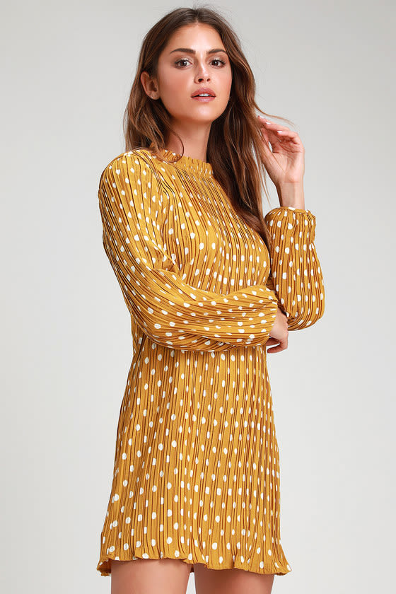 1960s Mad Men Dresses and Clothing Styles Pleat to Meet You Mustard Polka Dot Long Sleeve Shift Dress - Lulus $59.00 AT vintagedancer.com