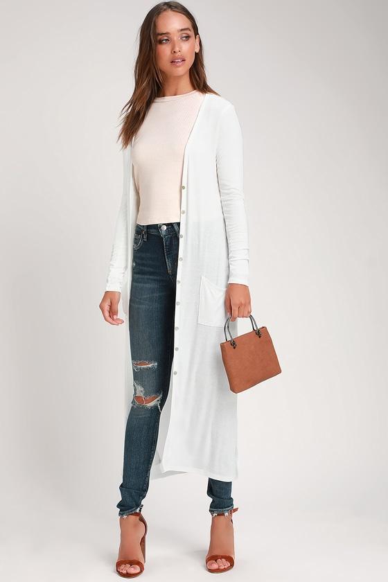 Graceful Ways White Long Cardigan Sweater