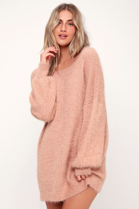 Slater Blush Pink Fuzzy Sweater Dress - Lulus