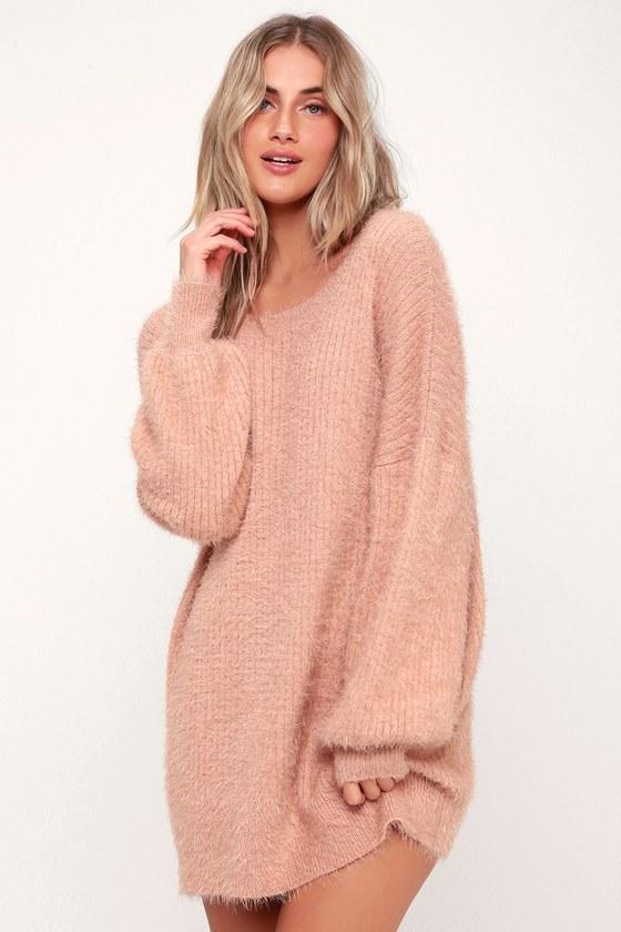 Slater Blush Pink Fuzzy Sweater Dress