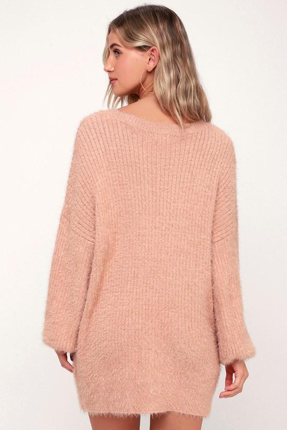 79d17fc73fd Cozy Blush Pink Dress - Fuzzy Sweater Dress - Long Sleeve Dress