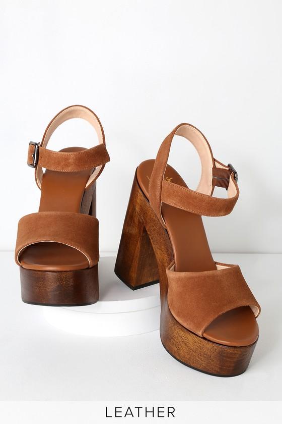 bd5f1385adc Trendy Platform Heels - Genuine Suede Heels - Cognac Platforms