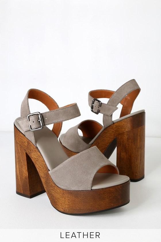 9c56d497705 Trendy Platform Heels - Genuine Suede Heels - Grey Platforms