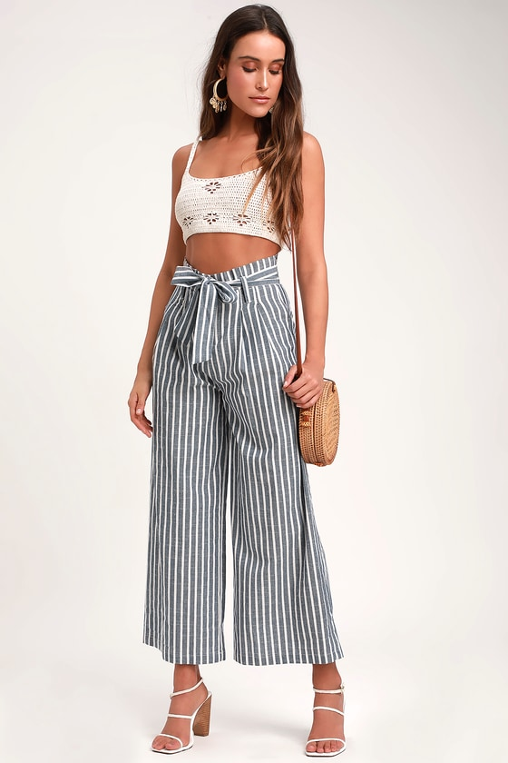 fd10889cbae Cute Striped Pants - Blue and White Pants - Paperbag Waist Pants