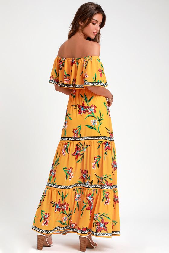 b97da6e0e06 Cute Yellow Maxi Dress - Floral Print Maxi Dress - OTS Maxi Dress