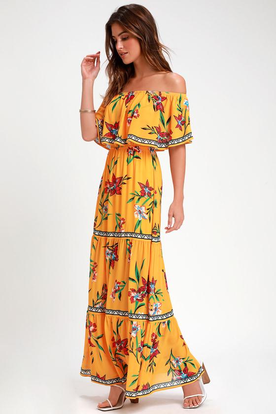 70s Dresses – Disco Dress, Hippie Dress, Wrap Dress Cancun Cutie Yellow Floral Print Off-the-Shoulder Maxi Dress - Lulus $58.00 AT vintagedancer.com