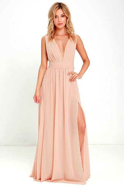 Sleeveless Blush Maxi Dress with Plunge Neckline