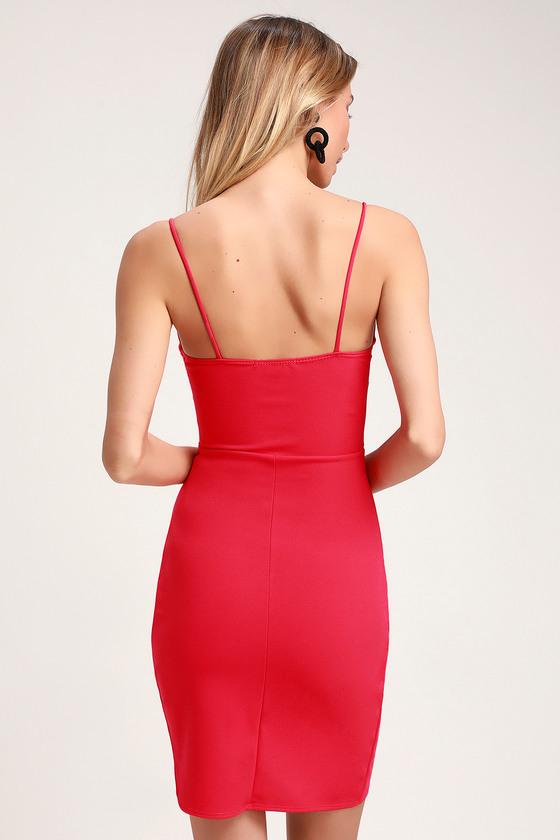 3196fc55edd4 Sexy Coral Pink Dress - Bodycon Dress - Wrap Dress - Pink Dress