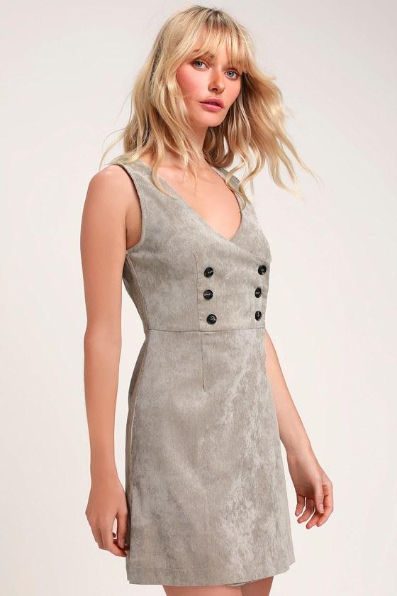 2a110bffe8 Cute Light Grey Dress - Corduroy Dress - Button-Up Dress