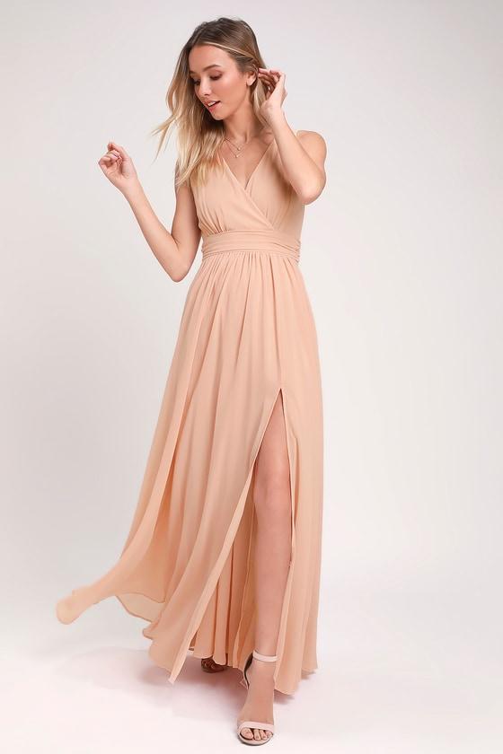 5231fd767ab Lovely Blush Dress - Sleeveless Maxi Dress - Blush Maxi Dress