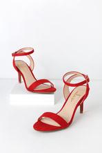 ede055b52e9569 Cute Block Heel Sandals - Red Suede High Heel Sandals