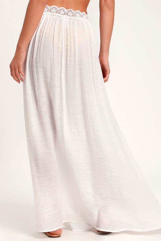004bfe5fff Cute Swim Cover-Up - Ivory Skirt Cover-Up - Lace Cover-Up