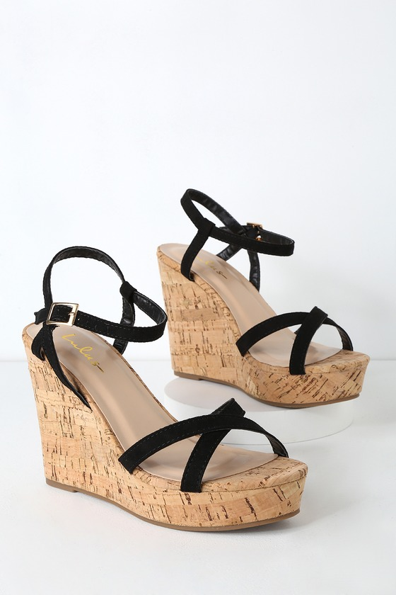 689692726 Cute Black Wedge Sandals - Vegan Suede Wedge Sandals - Wedges