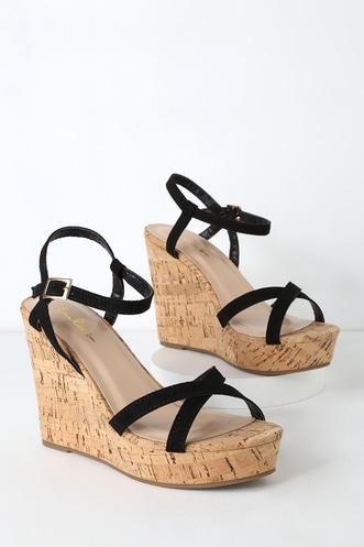 8cfbecb1ef1 White and Black Wedges - Wedge Sandals - Platform Wedge Sandals