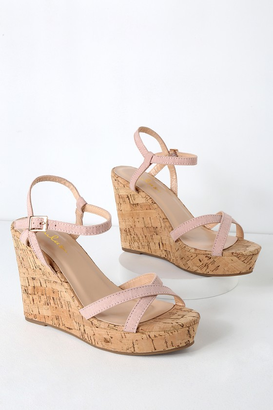 c22a3420d Cute Blush Wedge Sandals - Vegan Suede Wedge Sandals - Wedges