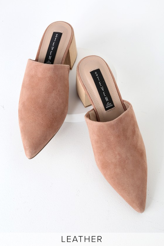 312073a5bc5 Florin Nude Suede Leather Pointed-Toe Mules