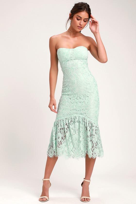 4eaa262bd5e0 Lovely Mint Dress - Lace Dress - Strapless Lace Dress