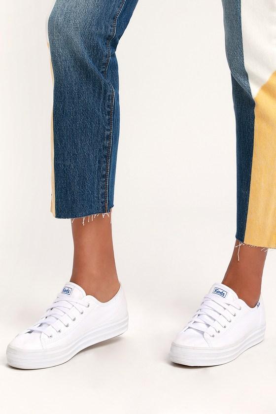 c2633ecfbfb Keds Triple Kick - White Sneakers - Platform Sneakers