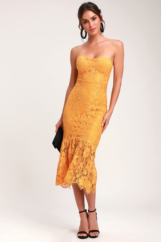 Divine Nights Golden Yellow Lace Strapless