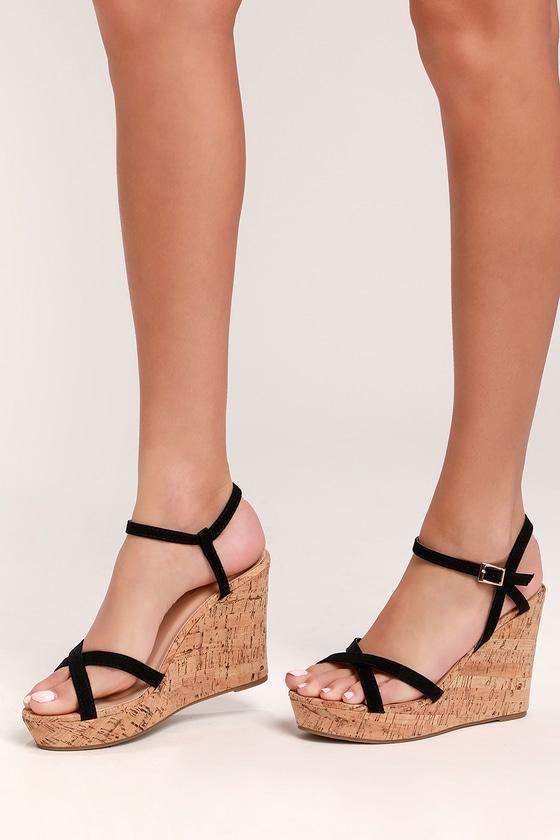 Cute Black Wedge Sandals - Vegan Suede