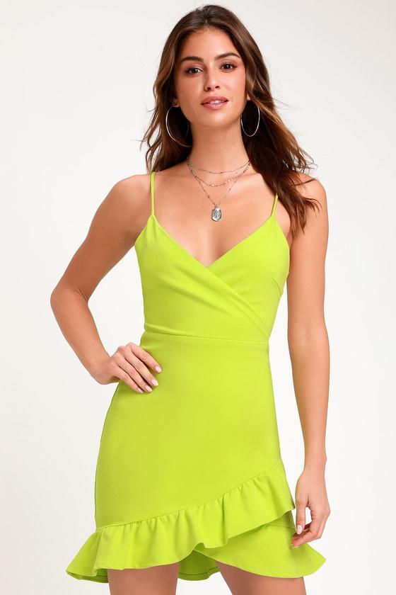Sexy Lime Green Dress - Bodycon Dress - Surplice Dress 279affc9ba