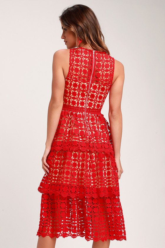 d04704761b Lovely Red Dress - Crochet Lace Dress - Sleeveless Midi Dress