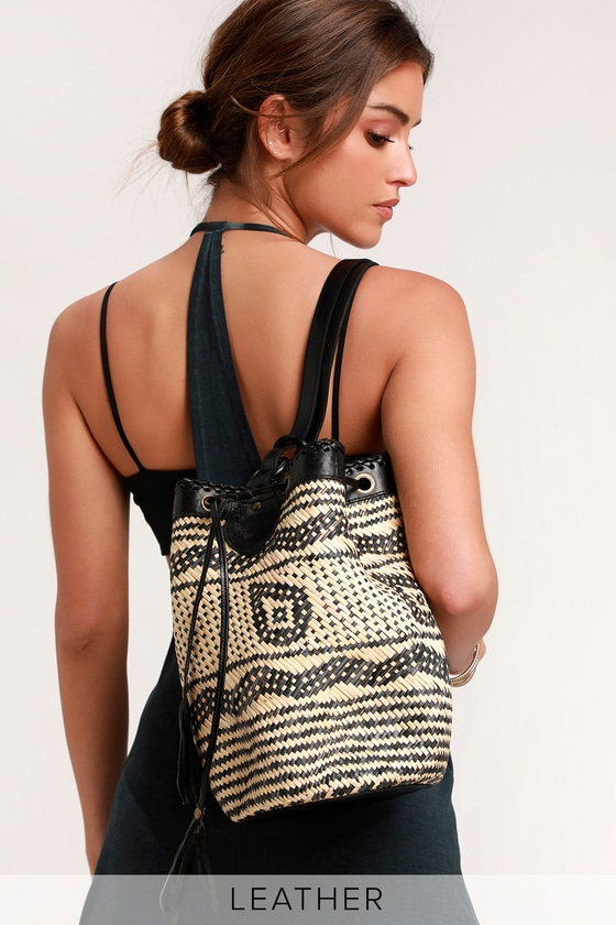 Satria Black and Tan Woven Bucket Bag