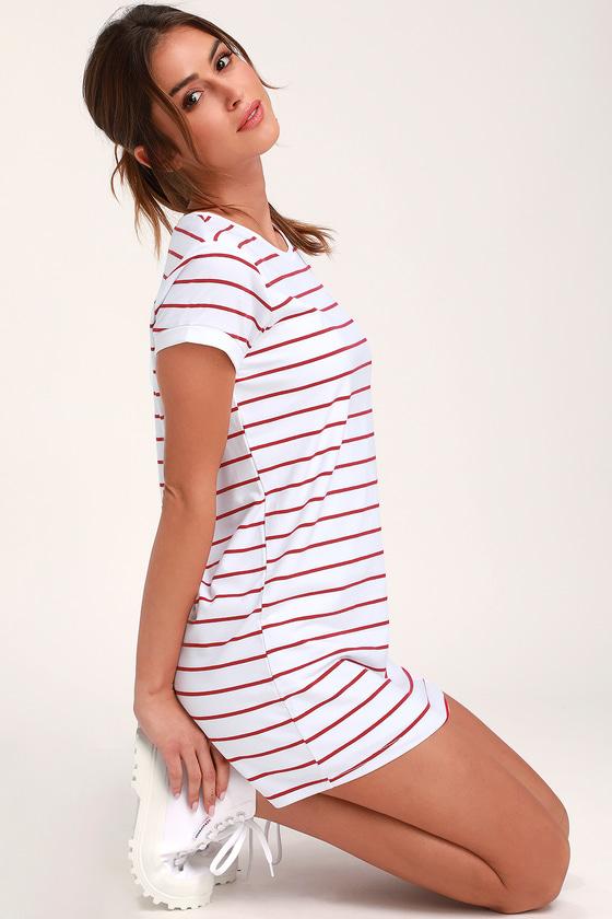 aea10f8503ac9 Chic White and Red Striped Dress - T-Shirt Dress - Shift Dress