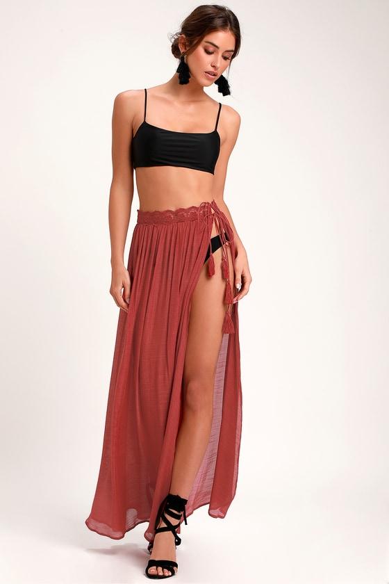 b5c661791ac74 Sun Seeking Brick Red Lace Swim Cover-Up Maxi Skirt