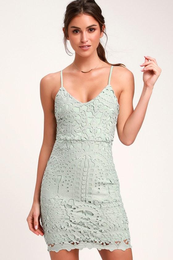 f04007fb3cf5 Cute Sage Green Dress - Lace Dress - Sheath Dress - Mini Dress